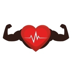 heart cardio with strong hands vector image
