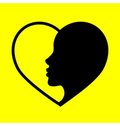 heart on a yellow background vector image