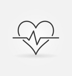 Heart pulse minimal icon in thin line style vector