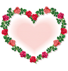 Heart-shaped wreath made up some roses vector