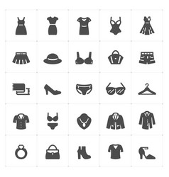 icon set - clothing woman filled style vector image