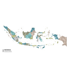 indonesia higt detailed map with subdivisions vector image
