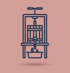 isolated linear icon - wine press vector image