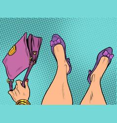 lady fashionista with handbag feet shoes vector image
