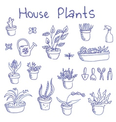 Liner pen hand drawn houseplants and garden tools vector