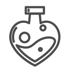 love potion in heart shaped bottle line icon vector image