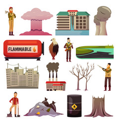 Man-made disasters orthogonal icons vector