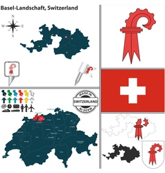 Map of Basel Landschaft small vector image