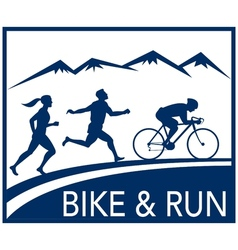 Marathon runner bike cycle run race vector