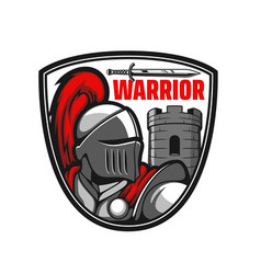 Medieval knight ancient warrior or paladin icon vector