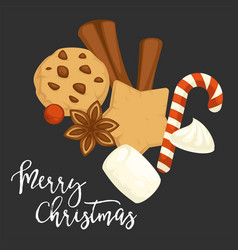 Merry christmas traditional cookies and biscuits vector