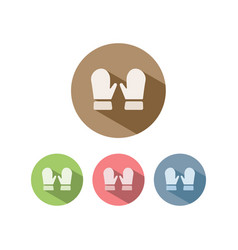 Mittens icon on colored circles vector