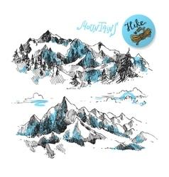 Mountains engraving style vector