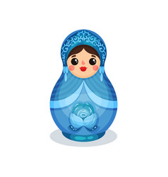 nesting doll russian wooden matryoshka with gzhel vector image