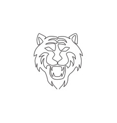 one single line drawing wild sumatra tiger vector image