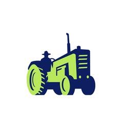 Organic Farmer Driving Vintage Farm Tractor vector
