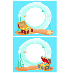 Photo frame with mysterious sea treasures in chest vector