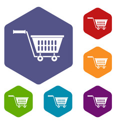 Plastic shopping trolley icons set hexagon vector