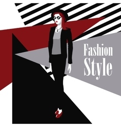 Poster wo black suit red lipstick fashion style vector