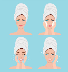 Process of cleansing the face from acne vector