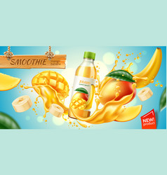 realistic mango banana slice juice splash vector image