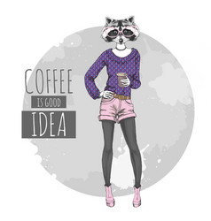 Retro hipster fashion animal raccoon with coffee vector