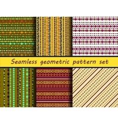 Seamless geometric peruvian pattern set vector