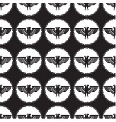 seamless pattern with eagles on two heads vector image