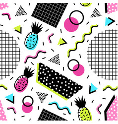 Seamless pattern with exotic pineapple fruits vector
