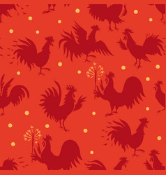 seamless pattern with roosters in different poses vector image