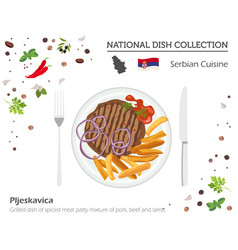 Serbian cuisine european national dish collection vector