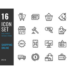 set 16 icons online shopping thin line style vector image