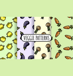 Set colorful vegetables seamless patterns flat vector