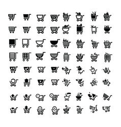 Shopping cart icons design 64 item vector