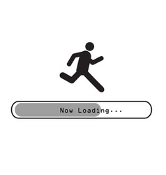 Sign man running on loading bar vector