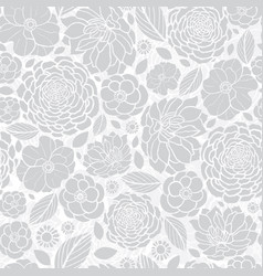 Silver grey white mosaic flowers seamless vector