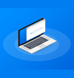 Simple browser window on laptop on blue vector