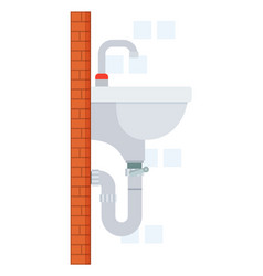 Sink in bathroom with faucet and pipe place vector