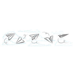 Sketched paper plane flight drawing or airplane vector