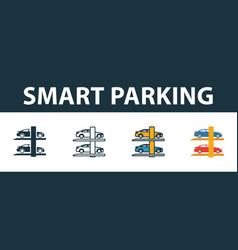 Smart parking icon set premium symbol in vector