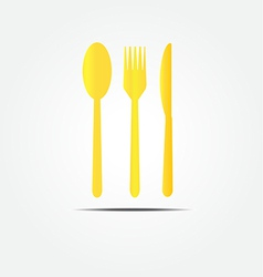spoon fork and knife gold set vector image