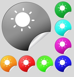 Sun icon sign Set of eight multi-colored round vector image