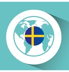 Sweden flag pin map design vector