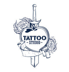 tattoo art design of floal flower with sword vector image
