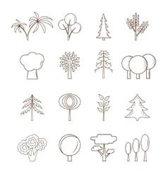 Thin line Tree Set vector image