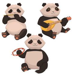 three cute pandas playing musical instruments vector image
