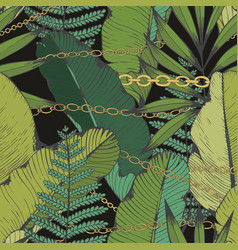 Tropical leaves and chains seamless pattern hand vector