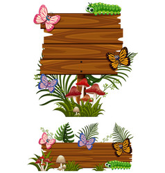 two design of wooden signs with butterflies vector image