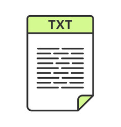 Txt file color icon text file format unformatted vector