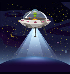 Ufo poster flying saucer alien sartoon style vector